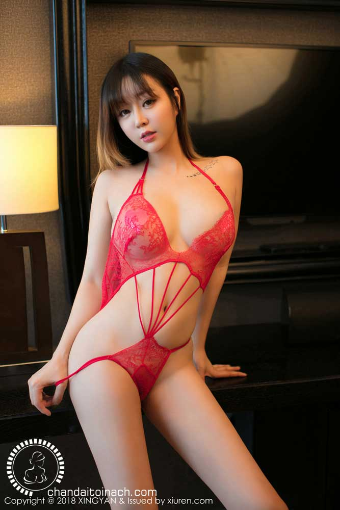 Busty Taiwan model Wearing Pink Lingerie have tatoo star on shoulder